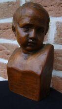 ANCIEN BOIS SCULPTÉ FLANDRES XIXème TÊTE D'ENFANT MONOGRAMME J.J ou JD