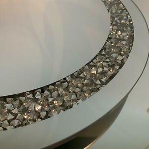 Mirrored Glass Round Side End Table Multicrystals Silver Grey – UK Seller