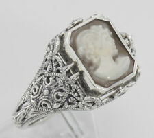 Hand Carved Italian Cameo / Lapis Filigree Flip Ring - Sterling Silver Size 7
