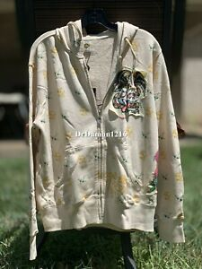 NWT Authentic Ed Hardy Men's Patch Graphic Cobra Snake Hoodie Cotton