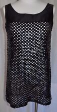 Vintage 1960's Black Satin Trim Sequin See Thru Cover Up Tank Top Blouse