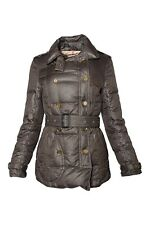 Burberry Goose Down Textured Olive Double Breasted Trench Puffer Coat S Small