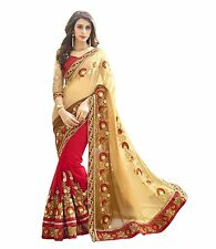 Indian Ethnic Designer Georgette Multi-Color Emboridered Saree Sari D.No DPS1130