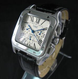 Luxury Men Automatic Mechanical Square Date Swiss Sport Wrist Watch Original Box