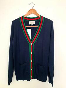 Authentic Gucci Sweater Wool Cardigan Dark Blue Size L