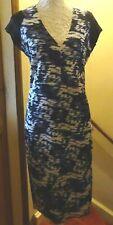 ZARA NAVY PRINT STRETCH SCUBA BODYCON DRESS+EXPOSED ZIP L=16 NWOT** REDUCED