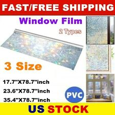 3D Rainbow Stained Glass Window Film Static Cling Anti UV for Door Home Decor US