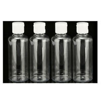 4 x 100ml Plastic Clear Flip Bottles Travel Shampoo Lotion Cosmetic Container T6