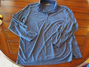 Mens Under Armour 4XL 1/4 Zip TOP Blue GRAY Shirt LOOSE Threadborne
