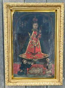 Antique 18th C. Spanish Colonial Primitive Painting/Retablo on canvas