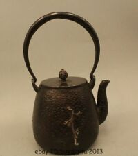 "10"" Chinese Japan Japanese Iron Beautiful crane Kettle Wine Tea Pot Flagon"