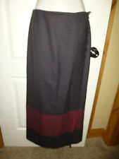 ANNE KLIEN ~WOOL~ WRAP FRINGE CAREER SKIRT Women's 10 GRAY & BURGUNDY NICE!!