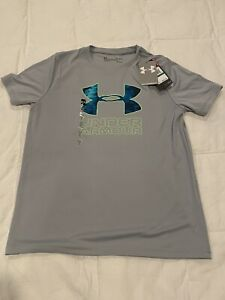 Under Armour Boy's Large Gray Shirt Youth Heat Gear Loose Fit