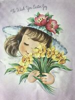 Vintage Easter Card Girl Fancy Hat Daffodils Eyelashes Purple Yellow Pink