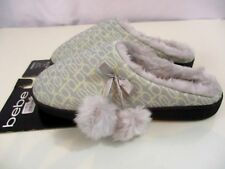 NWT BEBE FAUX FUR LINING LOGO SLIPPERS SIZE L (9-10) Deluxe and cozy, bebe logo