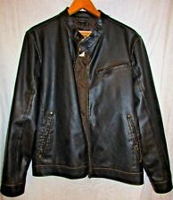 ROUTE 66 BROWN FAUX LEATHER DISTRESSED MOTORCYCLE RACER JACKET COAT XL