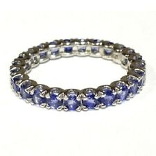 2.50 Carat Round Sapphire Claw Set Full Eternity Ring Crafted in White Gold