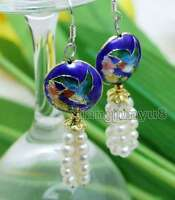 4-5mm White Round Natural Pearl with 18mm Blue Cloisonne Dangle earring-ear522