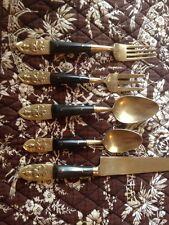 Vintage Utensil Brass & Wood Resin Siam Knife 2 Spoons 2 Forks - 5 Piece Set