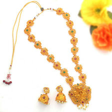 South Indian Temple Jewelry Long Bollywood Red Gold Tone Matt Necklace Set 67