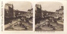 Lourdes Place de la Peyramale France Photo Stéréo Vintage argentique ca 1920