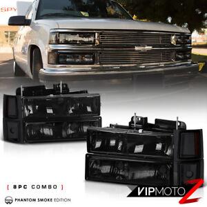 94-98 CHEVY C/K 1500/2500/3500 Smoke Replacement Headlight+Bumper Corner Signal