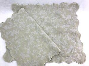 Vtg Set 2 Ivory Beige Matelasse Quilted Pillow Shams Standard Size Queen, Leaf