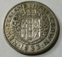 1933 New Zealand Silver Half Crown 50% Silver!