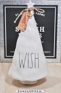 "Rae Dunn WISH Christmas Tree Figural Tabletop Decor Ceramic 12"" height NEW '19"