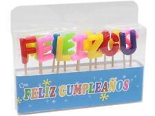 Velas para tarta o pastel de cumpleaños con las letras feliz cumpleaños