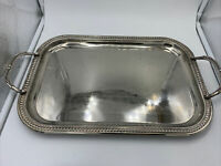 "Vintage Silver Plated Serving Tray 17 x 11 1/2"" With Silverplate With Handles"