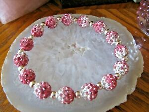 "New 8"" Rustic Pink-White Shimmer Crystal Ball Cuff Bracelet--Stocking Stuffer"