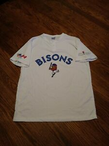 AUTHENTIC Replica BUFFALO BISONS Toronto BLUE JAYS-STYLE JERSEY Youth/Boys XL l