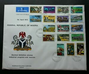 [SJ] Nigeria Definitive Industrial & Tourism 1973 Palm Oil Textile Hospital FDC