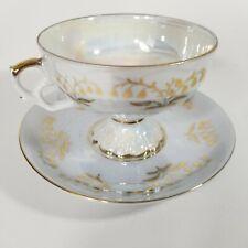 Vintage Iridescent Footed Demitasse Tea Cup & Saucer Japan Gold trim