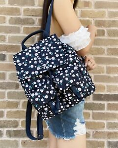 Kate Spade Carley Flap Drawstring Cargo Backpack Fleurette Floral Nylon Blue