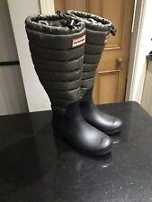 Hunter Original Wellingtons Wellies  Boots UK 3 Womens New Green Black Quilted