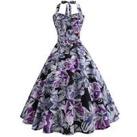 2020 Sleeveless vintage Swing Party halter Dress  floral Evening Dresses Retro