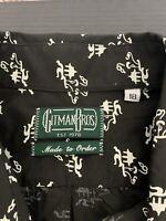 New Gitman Bros 18 Black Shirt Asian Motif Island White House 2XL/3XL Tall VTG