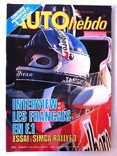 AUTO HEBDO n°102; Interview les français en F1/ Essai Simca Rallye 3/ A. Couderc