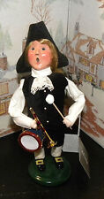 BYERS CHOICE Williamsburg Colonial Holiday Boy with Drum 2013 Hang Tag  *