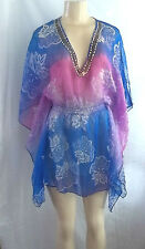 BEACH WEAR PURPLE LILAC FLORAL BEADED NECK COVER UP TOP BLOUSE SHEER S