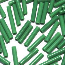 Perles de Rocailles Tubes en verre Opaque 9x2mm Vert malachite 20g