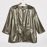 Chicos Travelers Collection XL Size 3 Gold Perforated Faux Leather Jacket Blazer