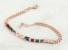 MIXED COLORS RUBY ROSE GOLD COLORED OVER STERLING SILVER BRACELET #59502