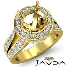 Diamond Engagement Semi Mount Ring 14k Yellow Gold Halo Pave Split Shank 1.3Ct