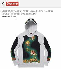 Supreme Jean Paul Gaultier Floral Hooded Hoodie Sweatshirt Grey Gray Large L