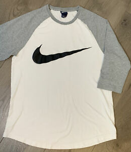 Nike Jersey Style T-shirt Teens Large Graphic Logo 3/4 Sleeve White Gray