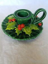 Vtg Holt Howard Holly Design Christmas Candle Holder w Red Berries Dated 1964