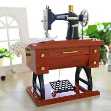 Retro Plastic Metal Sewing Machine Music Box Mechanical Jewelry Boxes Decor Gift